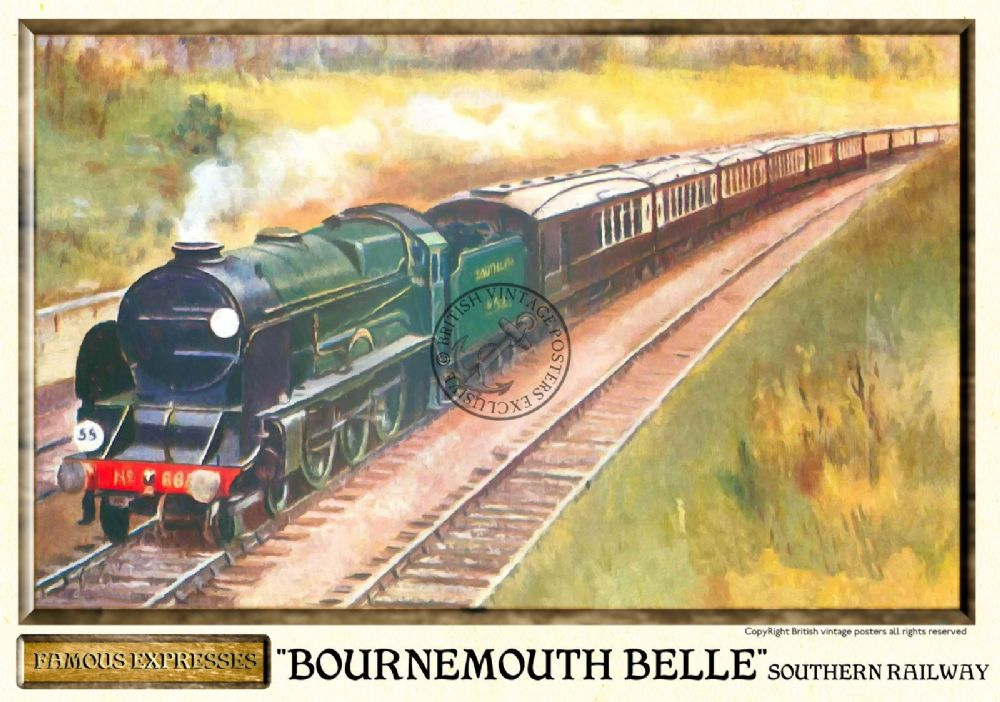 Southern Railways Bournemouth Belle Vintage Steam Train Poster